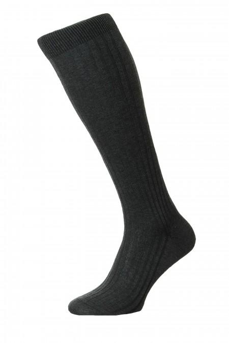 Pantherella Socks OTC - Rib Dark Grey