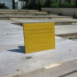 Leather Card Wallet By Profuomo - Yellow