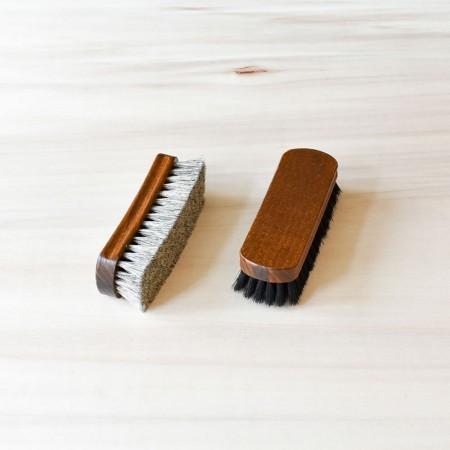 Set of 2 Shine Brushes, 100% horsehair