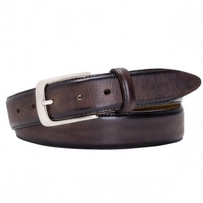 Brown polished Leather Belt By Profuomo